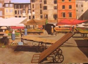 """""""Ricordo di Campo de' Fiori"""", Dipinto ad olio su legno, misure 64 x 46 cm, Anno 2011 di Maurizio Ciccani"""