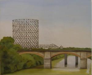 """""""Lungotevere"""", Dipinto ad olio su legno, misure 44 x 53 cm, Anno 2012 di Maurizio Ciccani"""