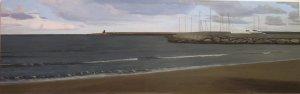 """""""Porto di Terracina"""" ,Dipinto ad olio su legno, misure 70 x 193 cm, Anno 2011 di Maurizio Ciccani"""