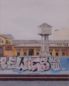 """""""Ostiense 3"""" Dipinto ad olio su legno, misure 70 x 90 cm, Anno 2015 di Maurizio Ciccani"""