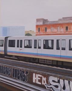 """""""Ostiense 2"""" Dipinto ad olio su legno, misure 70 x 90 cm, Anno 2015 Maurizio Ciccani"""