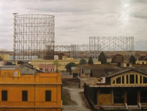 """""""Gazometro"""", Dipinto ad olio su legno, misure 156 x 116 cm, Anno 2011 di Maurizio Ciccani"""