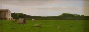 """""""Casale"""", Dipinto ad olio su legno, misure 30 x 82 cm, Anno 2011 di Maurizio Ciccani"""