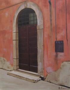 """""""Portoncino romano"""", Dipinto ad olio su tela, misure 45 x 36 cm, Anno 2012 di Maurizio Ciccani"""