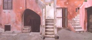 """""""Vicolo degli Acetari"""", Dipinto ad olio su legno, misure 31 x 70 cm, Anno 2012 di Maurizio Ciccani"""
