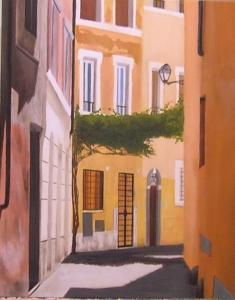 """""""Vicolo"""", Dipinto ad olio su legno, misure 39 x 31 cm Anno 2012 di Maurizio Ciccani"""