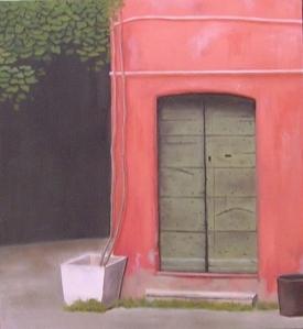 """""""Portoncino romano"""", Dipinto ad olio su legno, misure 35 x 32 cm, Anno 2011 di Maurizio Ciccani"""
