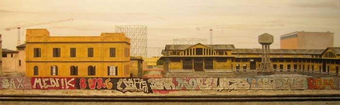 """""""Ex Mercati Generali"""", Dipinto ad olio su legno, misure 80 x 250 cm, Anno 2012 di Maurizio Ciccani"""