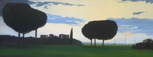 """""""Ruderi romani"""", Dipinto ad olio su legno, misure 34 x 90 cm, Anno 2012 di Maurizio Ciccani"""