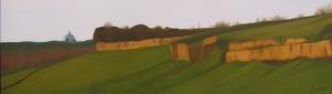 """""""Panoramica di San Pietro"""", Dipinto ad olio su legno, misure 27,5 x 94 cm, Anno 2012"""