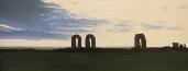 """""""Rovine romane"""", Dipinto ad olio su legno, misure 41 x 105 cm, Anno 2012 di Maurizio Ciccani"""