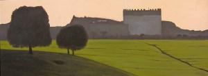 """""""Cecilia Metella"""", Dipinto ad olio su legno, misure 36 x 94,5, Anno 2012 di Maurizio Ciccani"""