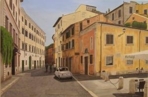 """""""Via Monserrato una domenica d'agosto"""" dipinto ad olio su legno, misure 60 x 90 cm, Anno 2012 di Maurizio Ciccani"""