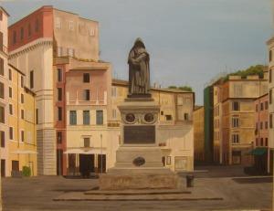"""""""Campo de' Fiori"""" Dipinto ad olio su tela, misure 47 x 60, 5 cm, Anno 2012 di Maurizio Ciccani"""