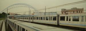 """""""Via Ostiense Ponte Spizzichino"""" , Dipinto ad olio su legno, misure 171 x 63 cm, Anno 2013 di Maurizio Ciccani"""