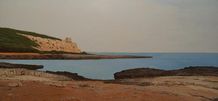 Porto Selvaggio, Dipinto ad olio su legno, misure 153 x 71 cm