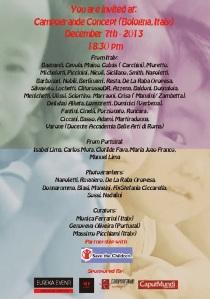 I nomi dei 51 artisti presenti alla, Campogrande Concept per Save the Children il 7 Dicembre