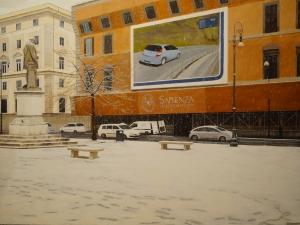 """""""Piazza della Chiesa Nuova"""", Dipinto ad olio su legno, misure 122 x 162 cm, Anno 2011 di Maurizio Ciccani"""