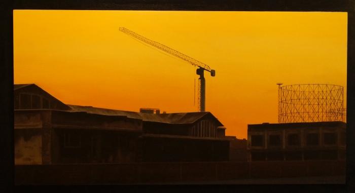 """""""Tramonto in via Ostiense"""" dipinto ad olio su legno 75 x 115 cm Anno 2014"""