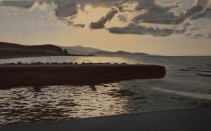 """""""Tramonto a Terracina"""" Dipinto ad olio su legno, misure 78 x 49 cm, Anno 2014 di Maurizio Ciccani"""