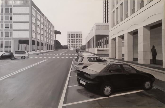 """""""EUR prospettive"""" Dipinto ad olio su tela, misure 117 x 177,5 cm, Anno 2015 di Maurizio Ciccani"""
