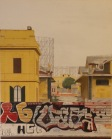 """""""Ostiense 1"""" Dipinto ad olio su legno, misure 70 x 90 cm, Anno 2015"""