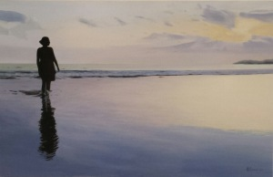 """Dipinto di Maurizio Ciccani """"Al tramonto"""" Dipinto ad olio su legno . Misure 65 x 101 cm - Anno 2016"""